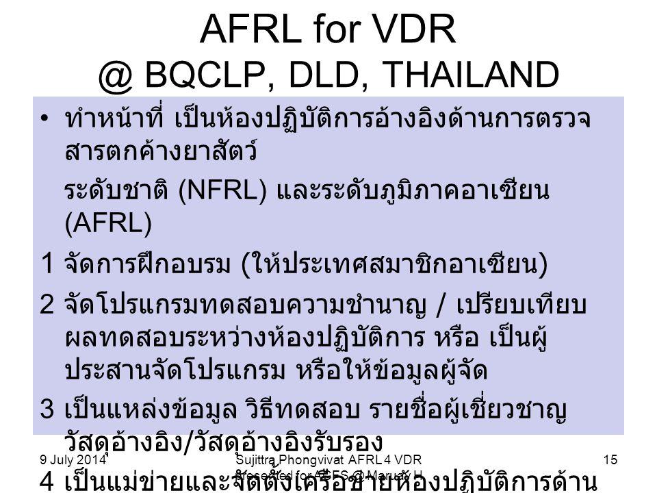 AFRL for VDR @ BQCLP, DLD, THAILAND ทำหน้าที่ เป็นห้องปฏิบัติการอ้างอิงด้านการตรวจ สารตกค้างยาสัตว์ ระดับชาติ (NFRL) และระดับภูมิภาคอาเซียน (AFRL) 1 จ