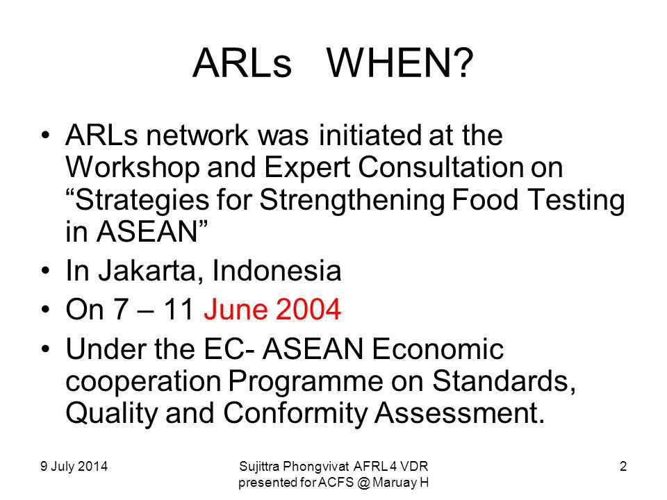 9 July 2014Sujittra Phongvivat AFRL 4 VDR presented for ACFS @ Maruay H ARLs ENDORSEMENT WHEN.