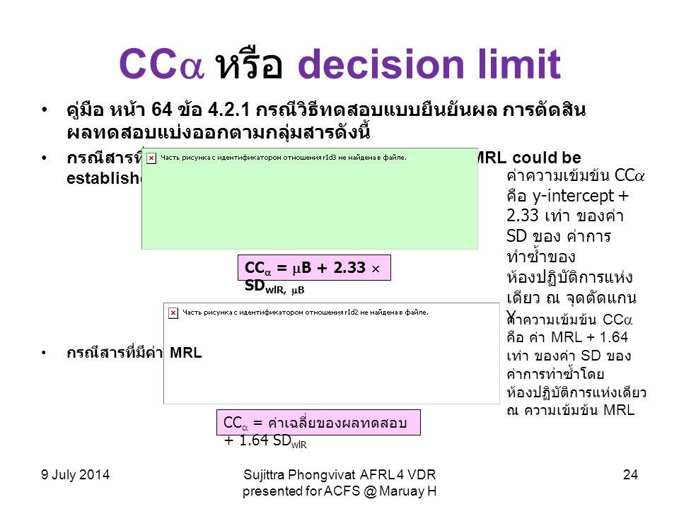 CC  หรือ decision limit คู่มือ หน้า 64 ข้อ 4.2.1 กรณีวิธีทดสอบแบบยืนยันผล การตัดสิน ผลทดสอบแบ่งออกตามกลุ่มสารดังนี้ กรณีสารที่ไม่อนุญาตให้ใช้และไม่กำ