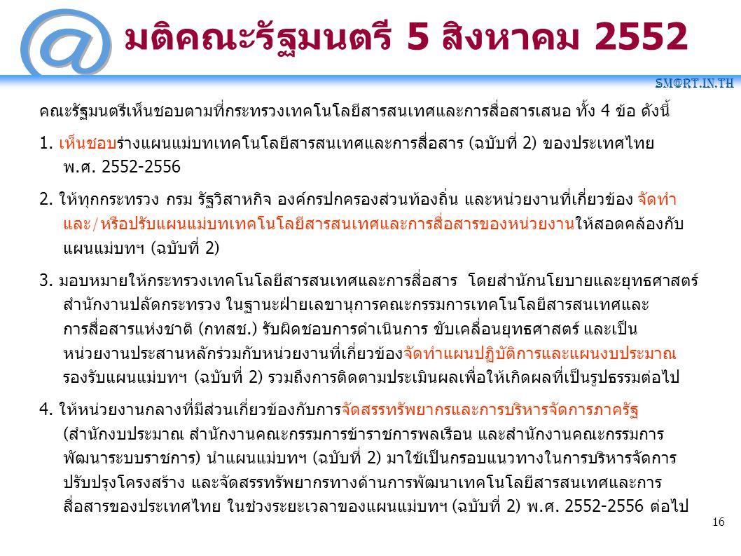 SM@RT.in.th 16 มติคณะรัฐมนตรี 5 สิงหาคม 2552 คณะรัฐมนตรีเห็นชอบตามที่กระทรวงเทคโนโลยีสารสนเทศและการสื่อสารเสนอ ทั้ง 4 ข้อ ดังนี้ 1. เห็นชอบร่างแผนแม่บ