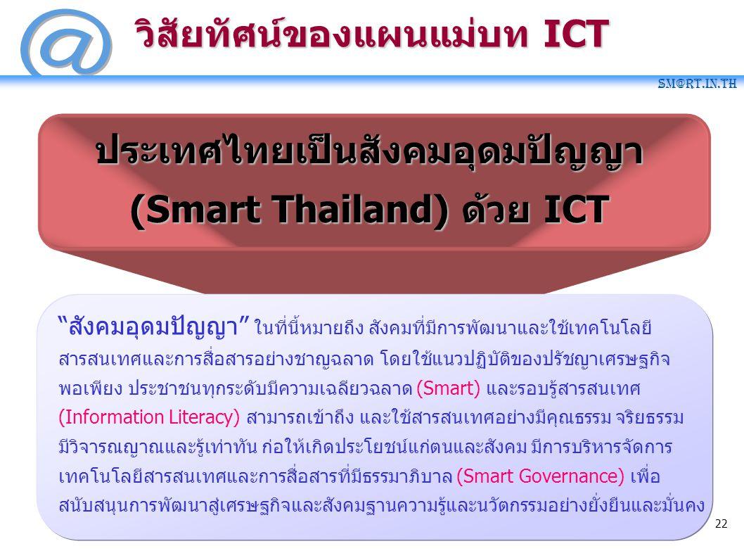 "SM@RT.in.th 22 วิสัยทัศน์ของแผนแม่บท ICT ประเทศไทยเป็นสังคมอุดมปัญญา (Smart Thailand) ด้วย ICT ""สังคมอุดมปัญญา"" ในที่นี้หมายถึง สังคมที่มีการพัฒนาและใ"
