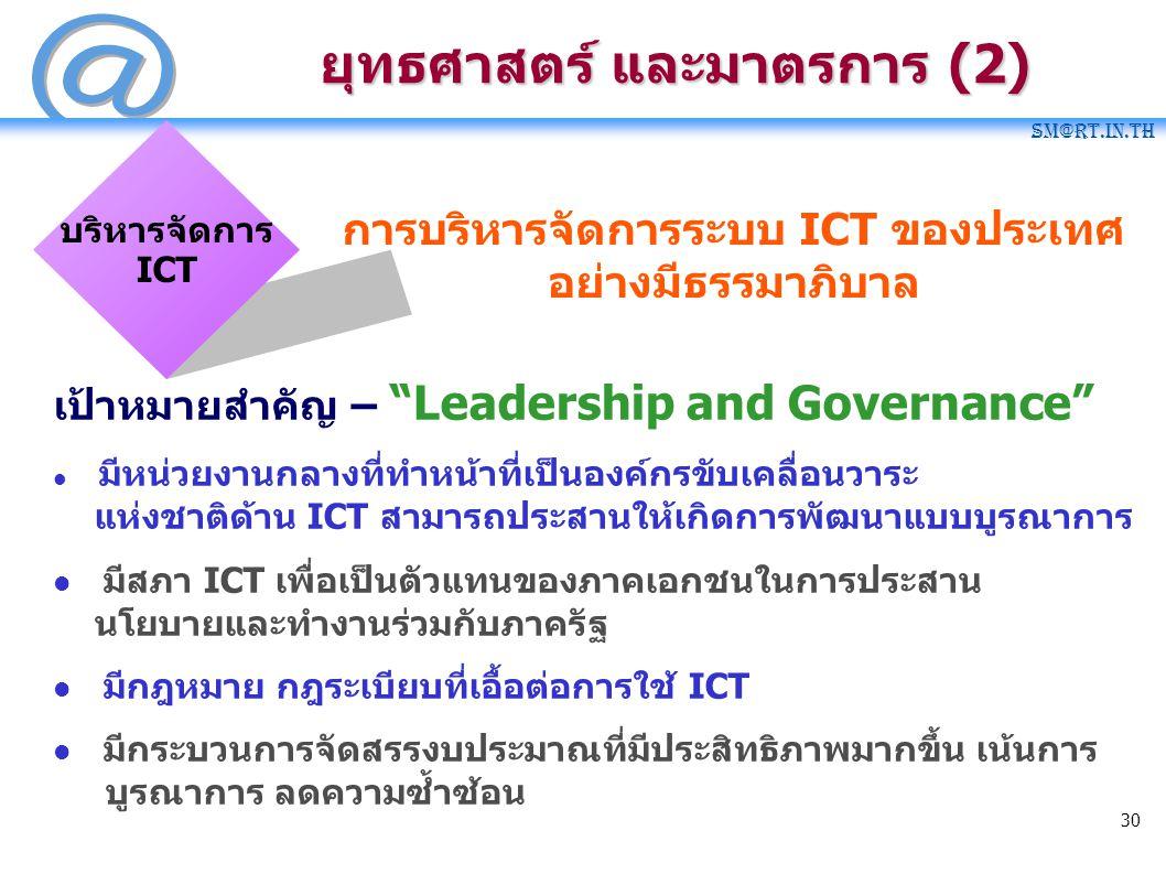 "SM@RT.in.th 30 ยุทธศาสตร์ และมาตรการ (2) การบริหารจัดการระบบ ICT ของประเทศ อย่างมีธรรมาภิบาล บริหารจัดการ ICT เป้าหมายสำคัญ – ""Leadership and Governan"