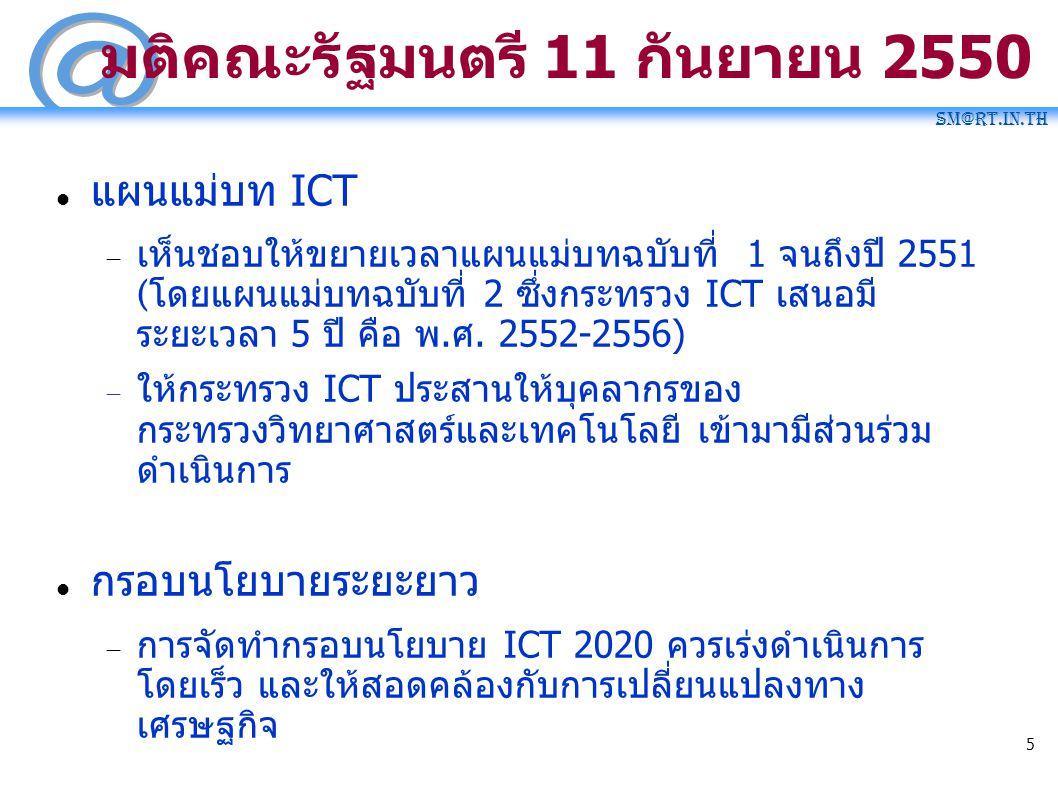SM@RT.in.th 5 ม ติ คณะ รั ฐมนต รี 11 กั นยายน 2550 แผนแ ม่ บท ICT  เ ห็ นชอบใ ห้ ขยายเวลาแผนแ ม่ บทฉ บับที่ 1 จน ถึ งปี 2551 ( โดยแผน แม่ บทฉ บั บ ที