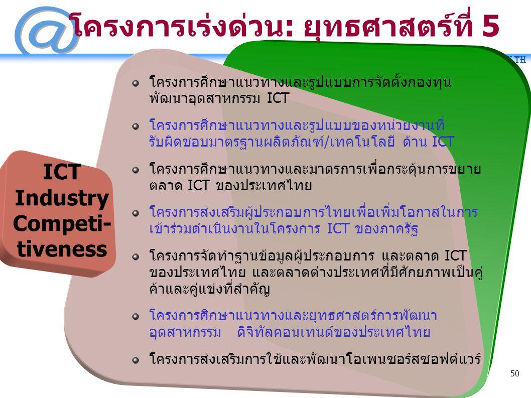 SM@RT.in.th 50 โครงการศึกษาแนวทางและรูปแบบการจัดตั้งกองทุน พัฒนาอุตสาหกรรม ICT โครงการศึกษาแนวทางและรูปแบบของหน่วยงานที่ รับผิดชอบมาตรฐานผลิตภัณฑ์/เทค