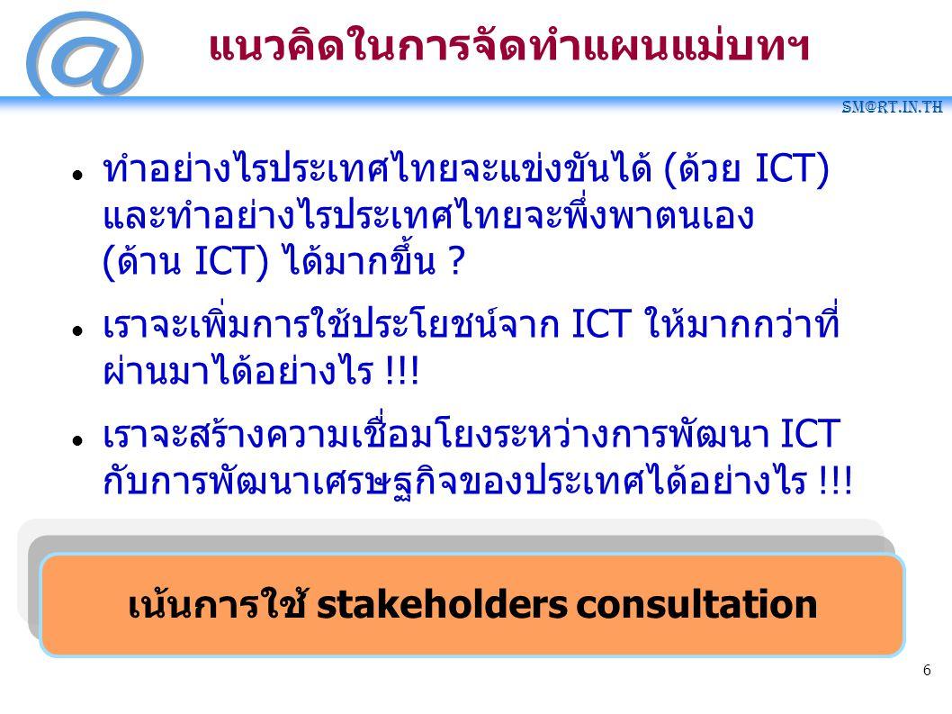 SM@RT.in.th 6 เน้นการใช้ stakeholders consultation แนวคิดในการจัดทำแผนแม่บทฯ ทำอย่างไรประเทศไทยจะแข่งขันได้ (ด้วย ICT) และทำอย่างไรประเทศไทยจะพึ่งพาตน