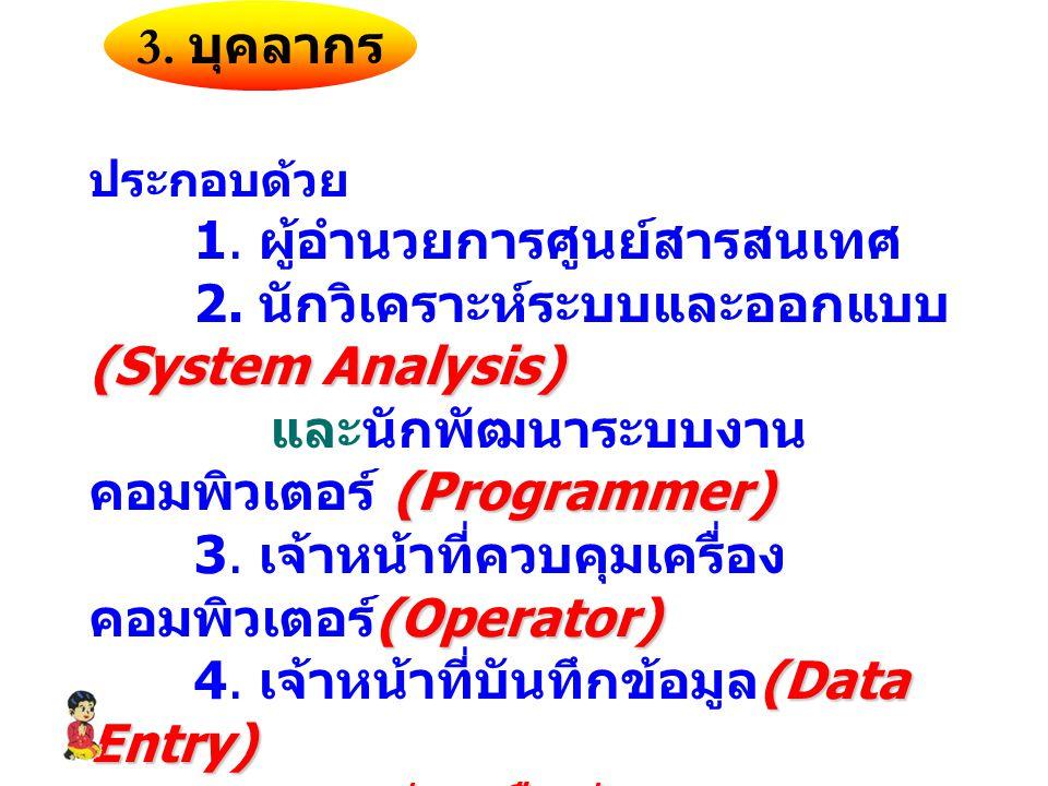 3.บุคลากร ประกอบด้วย 1. ผู้อำนวยการศูนย์สารสนเทศ (System Analysis) 2.