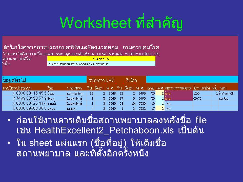 Worksheet ที่สำคัญ ก่อนใช้งานควรเติมชื่อสถานพยาบาลลงหลังชื่อ file เช่น HealthExcellent2_Petchaboon.xls เป็นต้น ใน sheet แผ่นแรก ( ชื่อที่อยู่ ) ให้เติ