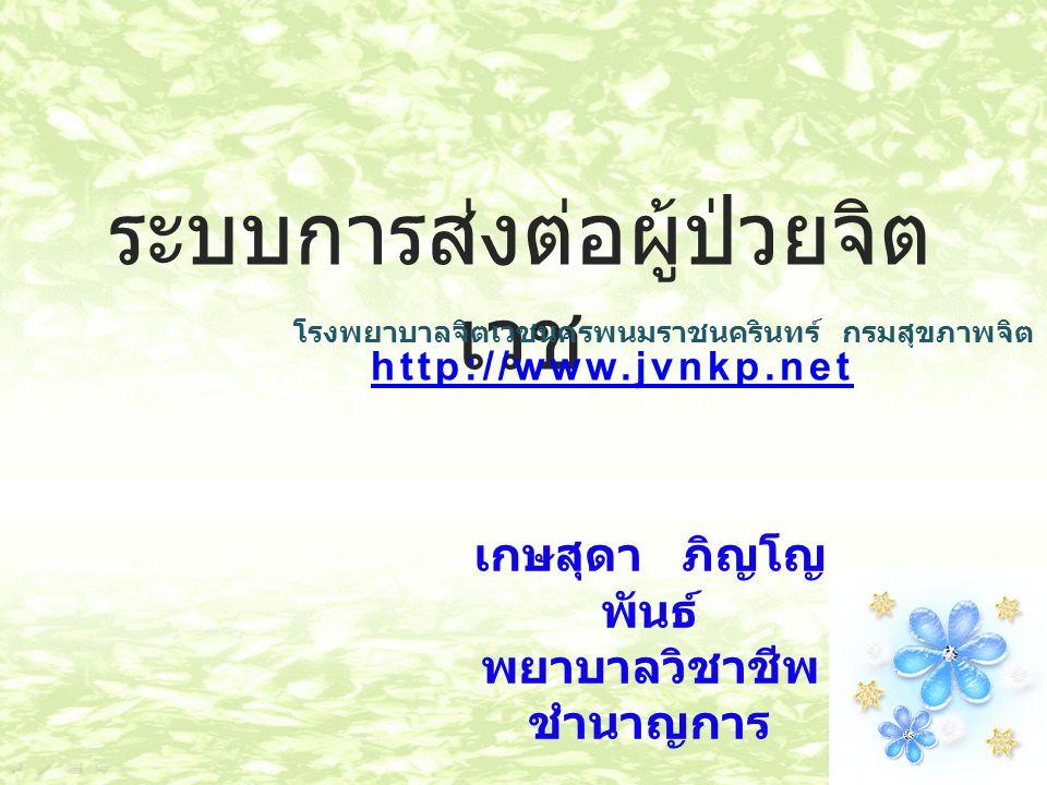 ระบบการส่งต่อผู้ป่วยจิต เวช http://www.jvnkp.net โรงพยาบาลจิตเวชนครพนมราชนครินทร์ กรมสุขภาพจิต เกษสุดา ภิญโญ พันธ์ พยาบาลวิชาชีพ ชำนาญการ