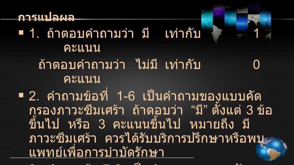การแปลผล  1.ถ้าตอบคำถามว่า มีเท่ากับ 1 คะแนน ถ้าตอบคำถามว่าไม่มีเท่ากับ 0 คะแนน  2.