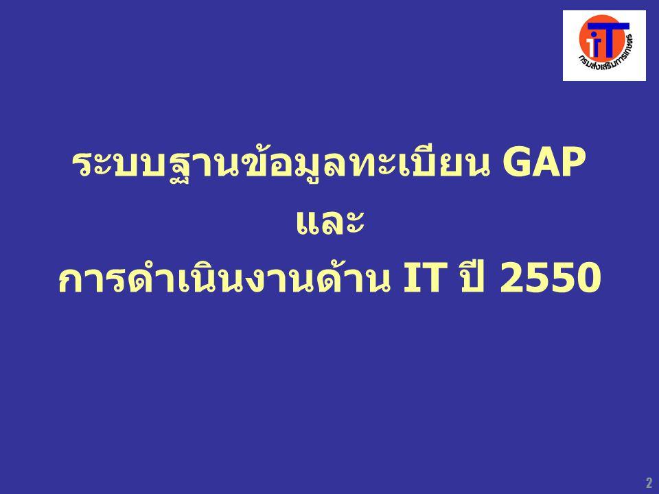 3 ระบบฐานข้อมูลทะเบียน GAP ขั้นตอนการดำเนินงาน ระดับจังหวัด 1.