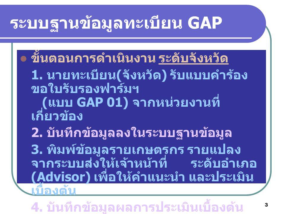 3 ระบบฐานข้อมูลทะเบียน GAP ขั้นตอนการดำเนินงาน ระดับจังหวัด 1. นายทะเบียน ( จังหวัด ) รับแบบคำร้อง ขอใบรับรองฟาร์มฯ ( แบบ GAP 01) จากหน่วยงานที่ เกี่ย