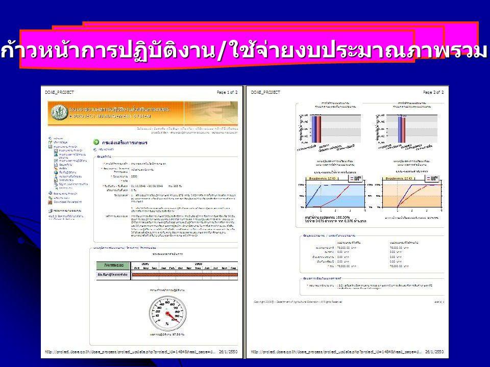 การติดตามประเมินผลและรายงาน _Louis_500227 ความก้าวหน้าการปฏิบัติงาน / ใช้จ่ายงบประมาณภาพรวม