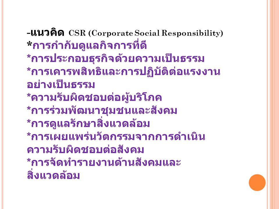 - แนวคิด CSR (Corporate Social Responsibility) * การกำกับดูแลกิจการที่ดี * การประกอบธุรกิจด้วยความเป็นธรรม * การเคารพสิทธิและการปฏิบัติต่อแรงงาน อย่าง