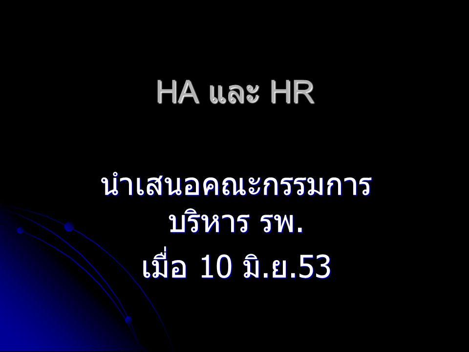 HA และ HR นำเสนอคณะกรรมการ บริหาร รพ. เมื่อ 10 มิ. ย.53