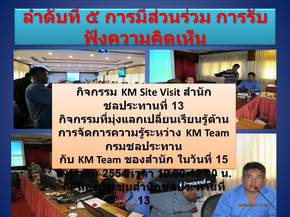 กิจกรรม KM Site Visit สำนัก ชลประทานที่ 13 กิจกรรมที่มุ่งแลกเปลี่ยนเรียนรู้ด้าน การจัดการความรู้ระหว่าง KM Team กรมชลประทาน กับ KM Team ของสำนัก ในวันที่ 15 สิงหาคม 2554 เวลา 10.00-12.00 น.