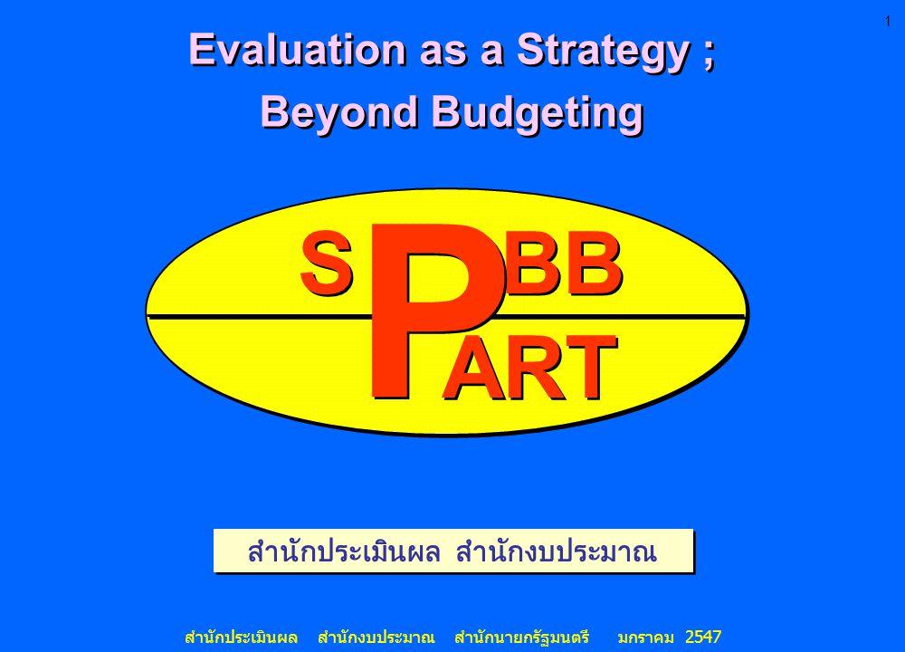 1 สำนักประเมินผล สำนักงบประมาณ สำนักนายกรัฐมนตรี มกราคม 2547 สำนักประเมินผล สำนักงบประมาณ S BB ART P P Evaluation as a Strategy ; Beyond Budgeting Eva