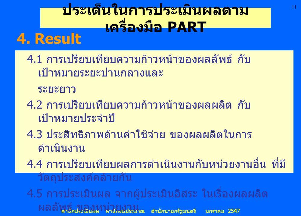 11 สำนักประเมินผล สำนักงบประมาณ สำนักนายกรัฐมนตรี มกราคม 2547 4.1 การเปรียบเทียบความก้าวหน้าของผลลัพธ์ กับ เป้าหมายระยะปานกลางและ ระยะยาว 4.2 การเปรีย