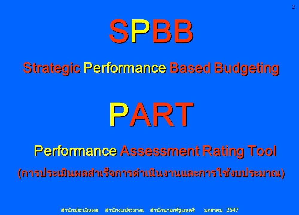 2 สำนักประเมินผล สำนักงบประมาณ สำนักนายกรัฐมนตรี มกราคม 2547 SPBB Strategic Performance Based Budgeting PART Performance Assessment Rating Tool (การปร