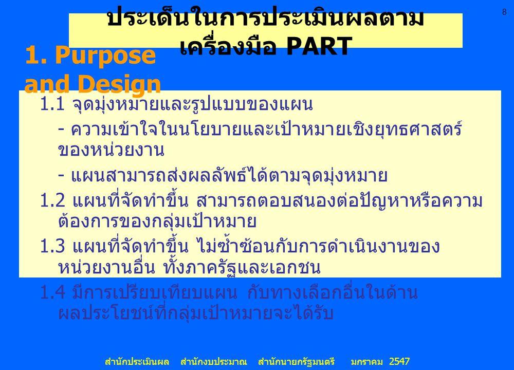 8 สำนักประเมินผล สำนักงบประมาณ สำนักนายกรัฐมนตรี มกราคม 2547 ประเด็นในการประเมินผลตาม เครื่องมือ PART 1.1 จุดมุ่งหมายและรูปแบบของแผน - ความเข้าใจในนโย