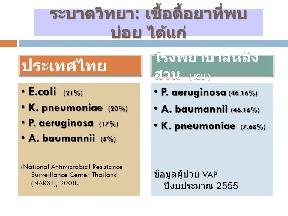 In 2008, data from NI surveillance system of hospitals in Thailand revealed that the incidence rate of VAP ranged from 3.47 – 25.86 per 1000 ventilator-days.