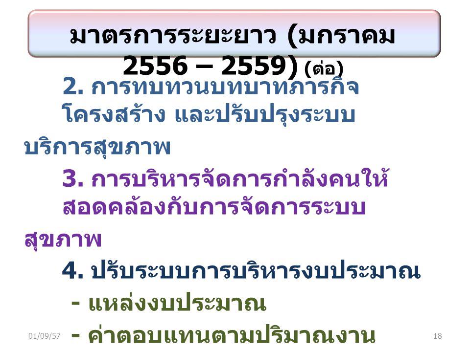 มาตรการระยะยาว ( มกราคม 2556 – 2559) ( ต่อ ) 2.