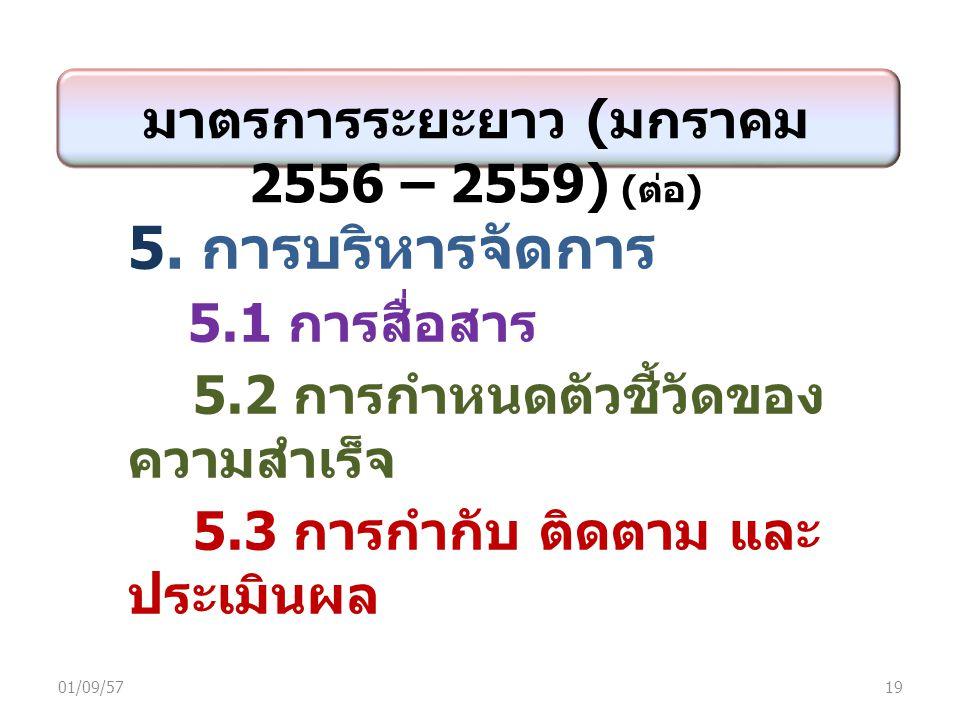 มาตรการระยะยาว ( มกราคม 2556 – 2559) ( ต่อ ) 5.