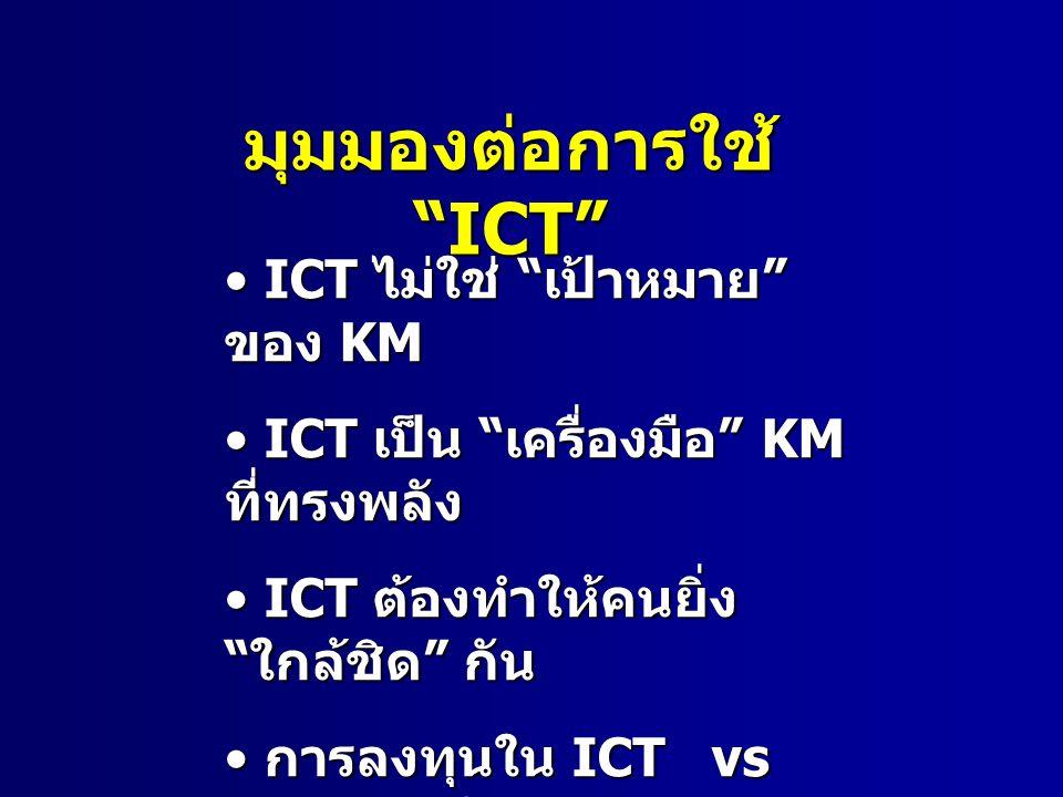 มุมมองต่อการใช้ ICT ICT ไม่ใช่ ไม่ใช่ เป้าหมาย ของ ของ KM ICT เป็น เป็น เครื่องมือ เครื่องมือ KM ที่ทรงพลัง ICT ต้องทำให้คนยิ่ง ใกล้ชิด ใกล้ชิด กัน การลงทุนใน การลงทุนใน ICT vs การลงทุนในคน