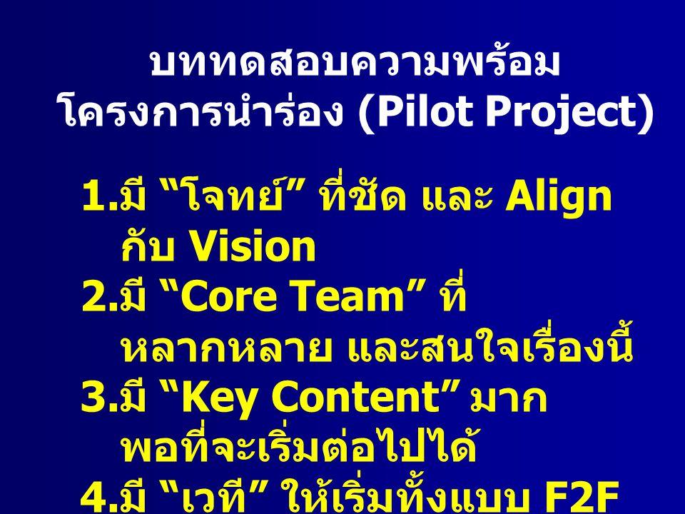 บททดสอบความพร้อม โครงการนำร่อง (Pilot Project) 1.มี โจทย์ ที่ชัด และ Align กับ Vision 2.