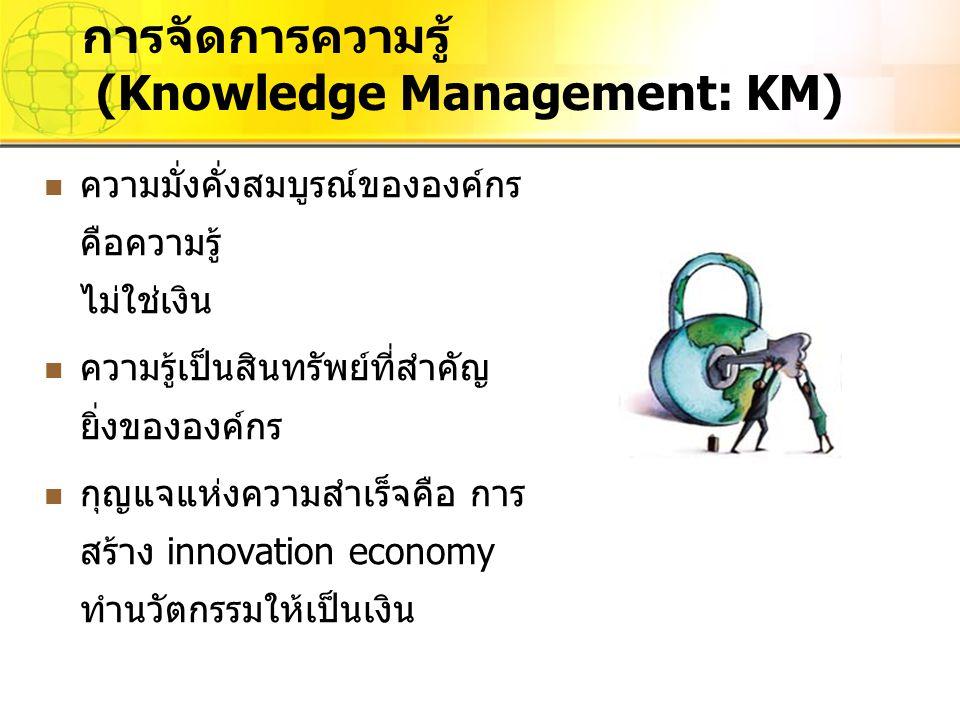 ความมั่งคั่งสมบูรณ์ขององค์กร คือความรู้ ไม่ใช่เงิน ความรู้เป็นสินทรัพย์ที่สำคัญ ยิ่งขององค์กร กุญแจแห่งความสำเร็จคือ การ สร้าง innovation economy ทำนว