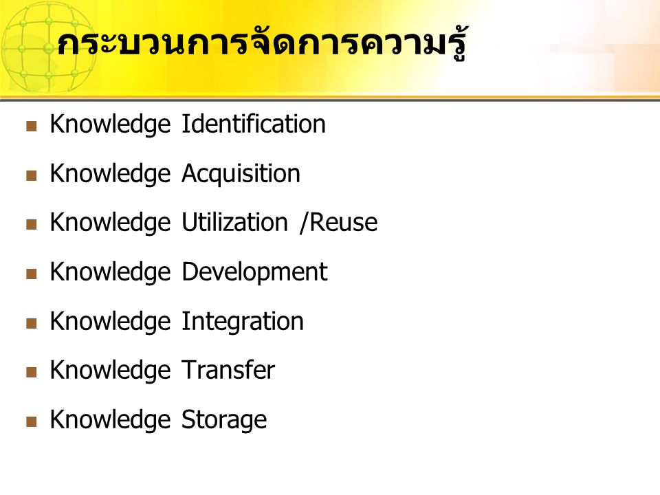 Knowledge Identification Knowledge Acquisition Knowledge Utilization /Reuse Knowledge Development Knowledge Integration Knowledge Transfer Knowledge Storage กระบวนการจัดการความรู้