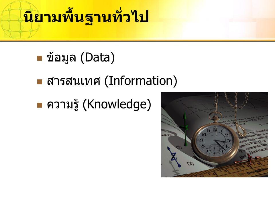 ข้อมูล (Data) สารสนเทศ (Information) ความรู้ (Knowledge) นิยามพื้นฐานทั่วไป
