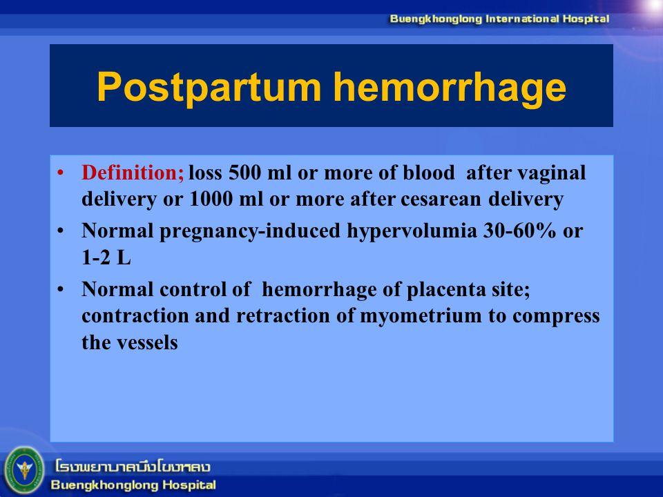 Postpartum hemorrhage Definition; loss 500 ml or more of blood after vaginal delivery or 1000 ml or more after cesarean delivery Normal pregnancy-indu