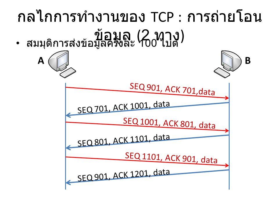 กลไกการทำงานของ TCP : การถ่ายโอน ข้อมูล (2 ทาง ) สมมุติการส่งข้อมูลครั้งละ 100 ไบต์ AB SEQ 901, ACK 701,data SEQ 701, ACK 1001, data SEQ 1001, ACK 801, data SEQ 1101, ACK 901, data SEQ 801, ACK 1101, data SEQ 901, ACK 1201, data