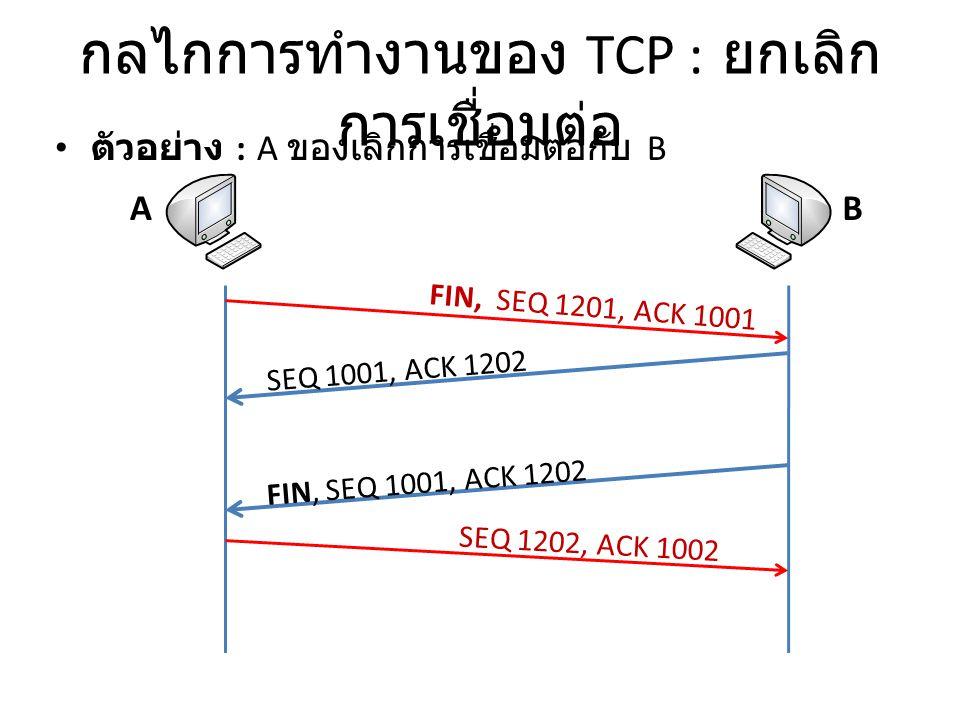 กลไกการทำงานของ TCP : ยกเลิก การเชื่อมต่อ ตัวอย่าง : A ของเลิกการเชื่อมต่อกับ B AB FIN, SEQ 1201, ACK 1001 SEQ 1001, ACK 1202 SEQ 1202, ACK 1002 FIN, SEQ 1001, ACK 1202