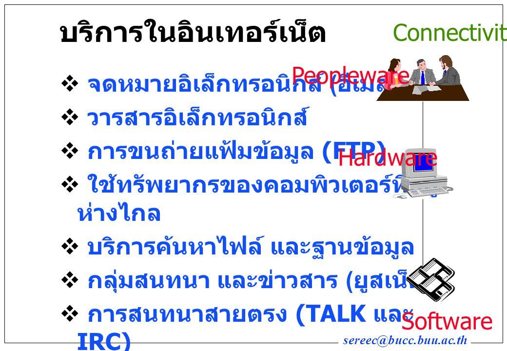 sereec@bucc.buu.ac.th บริการในอินเทอร์เน็ต  จดหมายอิเล็กทรอนิกส์ ( อีเมล์ )  วารสารอิเล็กทรอนิกส์  การขนถ่ายแฟ้มข้อมูล (FTP)  ใช้ทรัพยากรของคอมพิวเตอร์ที่อยู่ ห่างไกล  บริการค้นหาไฟล์ และฐานข้อมูล  กลุ่มสนทนา และข่าวสาร ( ยูสเน็ต )  การสนทนาสายตรง (TALK และ IRC)  เกมส์และการใช้ภาคพิสดาร อื่นๆ Connectivity Peopleware Hardware Software