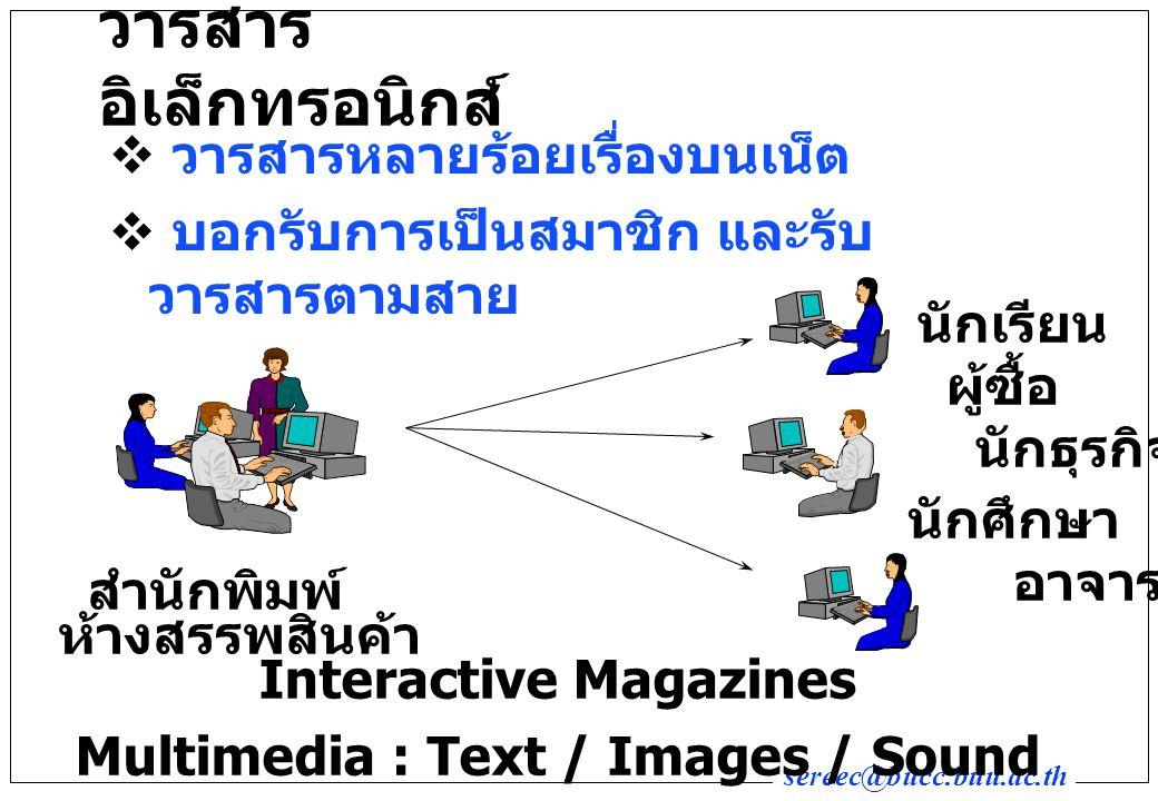sereec@bucc.buu.ac.th วารสาร อิเล็กทรอนิกส์  วารสารหลายร้อยเรื่องบนเน็ต  บอกรับการเป็นสมาชิก และรับ วารสารตามสาย Interactive Magazines Multimedia : Text / Images / Sound สำนักพิมพ์ นักเรียน ผู้ซื้อ นักธุรกิจ นักศึกษา อาจารย์ ห้างสรรพสินค้า