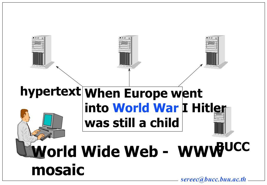 sereec@bucc.buu.ac.th When Europe went into World War I Hitler was still a child BUCC hypertext World Wide Web - WWW mosaic