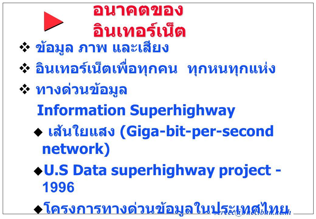 sereec@bucc.buu.ac.th อนาคตของ อินเทอร์เน็ต  ข้อมูล ภาพ และเสียง  อินเทอร์เน็ตเพื่อทุกคน ทุกหนทุกแห่ง  ทางด่วนข้อมูล Information Superhighway  เส้นใยแสง (Giga-bit-per-second network)  U.S Data superhighway project - 1996  โครงการทางด่วนข้อมูลในประเทศไทย (FTTH = Fiber Optic To Home)