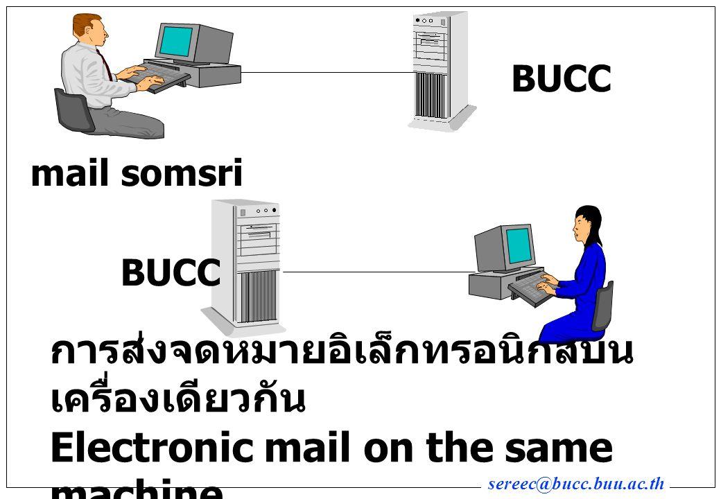sereec@bucc.buu.ac.th การส่งจดหมายอิเล็กทรอนิกส์ ข้ามทวีป Eletronic mail OVERSEAS mail somsri@munnari.mu.au BUCC mail munnari