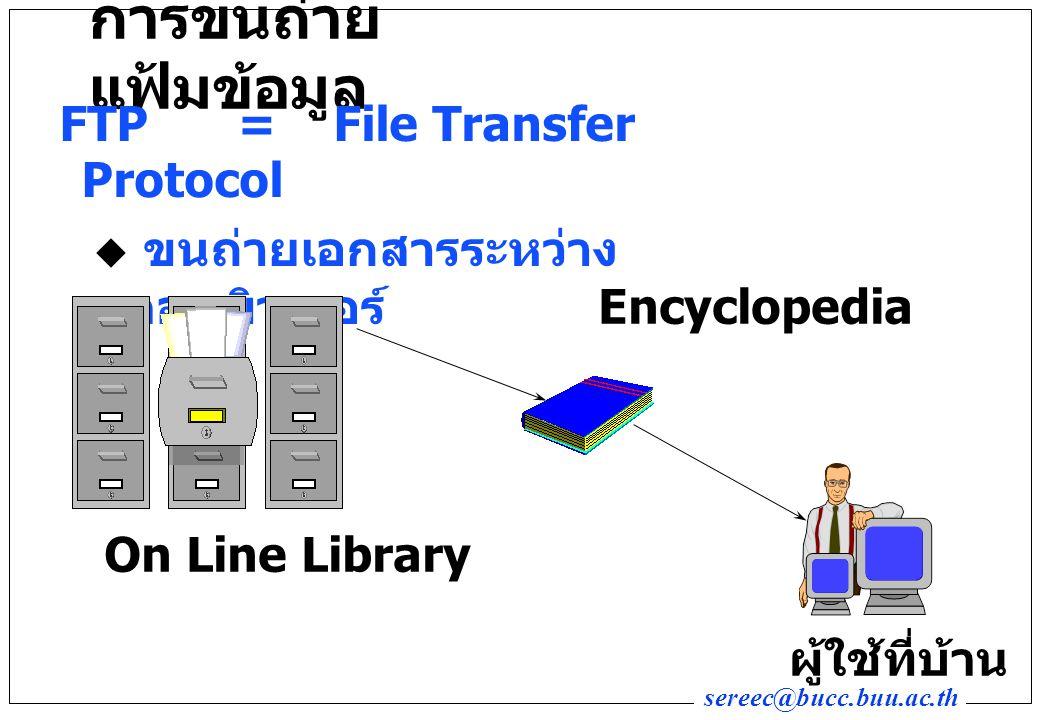 sereec@bucc.buu.ac.th การขนถ่าย แฟ้มข้อมูล FTP=File Transfer Protocol  ขนถ่ายเอกสารระหว่าง คอมพิวเตอร์ On Line Library Encyclopedia ผู้ใช้ที่บ้าน
