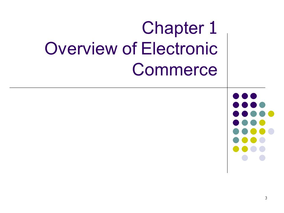 3 Chapter 1 Overview of Electronic Commerce
