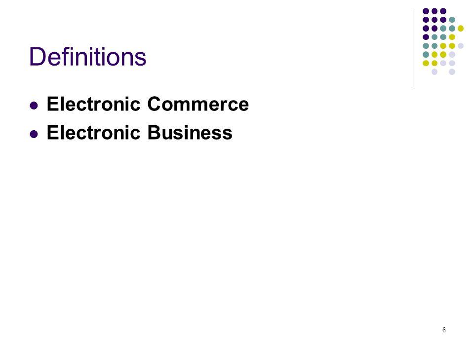 7 Electronic Commerce พาณิชย์อิเล็กทรอนิกส์ หมายถึง การซื้อ การขาย หรือการแลกเปลี่ยนสินค้า บริการ และข้อมูล ข่าวสาร ผ่านเครือข่ายคอมพิวเตอร์ รวมถึง เครือข่ายอินเทอร์เน็ต เช่น การแฟ็กเอกสารสั่งซื้อ การขายตรงทางทีวี