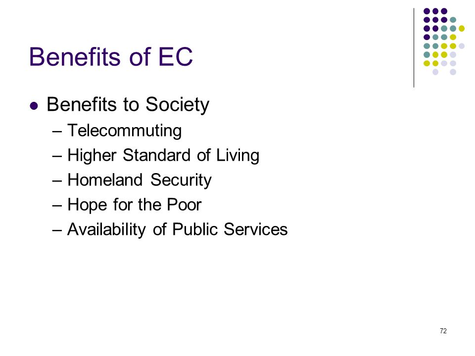 72 Benefits of EC Benefits to Society –Telecommuting –Higher Standard of Living –Homeland Security –Hope for the Poor –Availability of Public Services