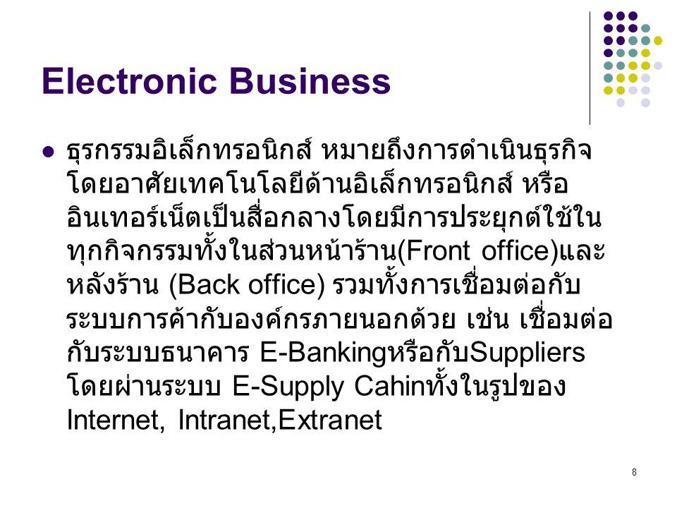 19 Marks & Spencer (cont.) What can we learn … – การขายหน้าร้านแบบเก่า (brick-and-mortar) มีที่ตั้งบริษัท จริง มีการแข่งขันกันในตลาด – การนำ E-commerce มาใช้ช่วยปรับปรุงในด้านต่างดังนี้ supply chain operation : สายการผลิต Information : สารสนเทศ money,raw materials : เงิน วัตถุดิบ increase customer service : เพิ่มบริการใหม่ให้ลูกค้า open up markets to more customers : เปิดตลาด เพื่อเพิ่มลูกค้า