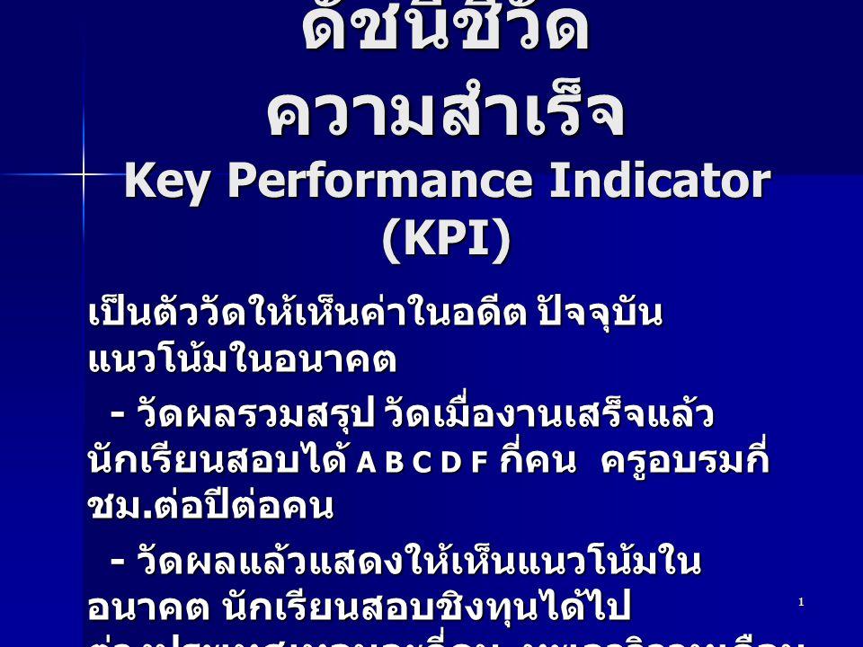 1 ดัชนีชี้วัด ความสำเร็จ Key Performance Indicator (KPI) เป็นตัววัดให้เห็นค่าในอดีต ปัจจุบัน แนวโน้มในอนาคต - วัดผลรวมสรุป วัดเมื่องานเสร็จแล้ว นักเรียนสอบได้ A B C D F กี่คน ครูอบรมกี่ ชม.