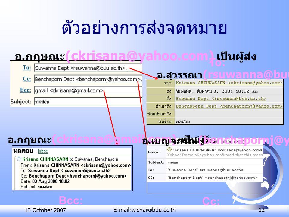 13 October 2007E-mail:wichai@buu.ac.th 12 ตัวอย่างการส่งจดหมาย อ. กฤษณะ (ckrisana@yahoo.com) เป็นผู้ส่ง อ. กฤษณะ (ckrisana@gmail.com) เป็นผู้รับ อ. สุ