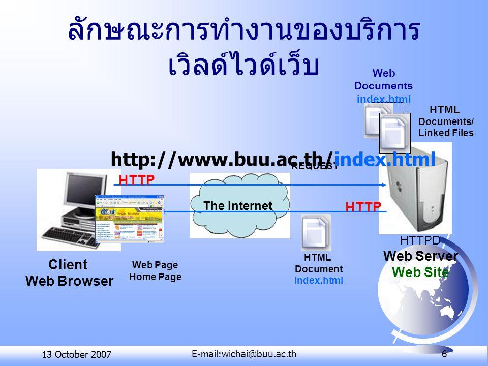 13 October 2007E-mail:wichai@buu.ac.th 6 ลักษณะการทำงานของบริการ เวิลด์ไวด์เว็บ The Internet Client Web Browser HTTPD Web Server Web Site HTML Documen