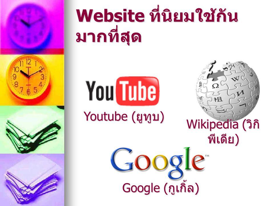 Website ที่นิยมใช้กัน มากที่สุด Wikipedia ( วิกิ พีเดีย ) Youtube ( ยูทูบ ) Google ( กูเกิ้ล )