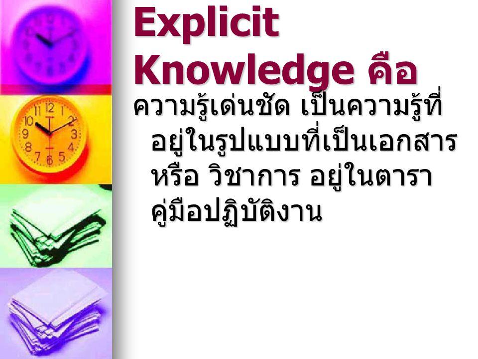 Explicit Knowledge คือ ความรู้เด่นชัด เป็นความรู้ที่ อยู่ในรูปแบบที่เป็นเอกสาร หรือ วิชาการ อยู่ในตารา คู่มือปฏิบัติงาน