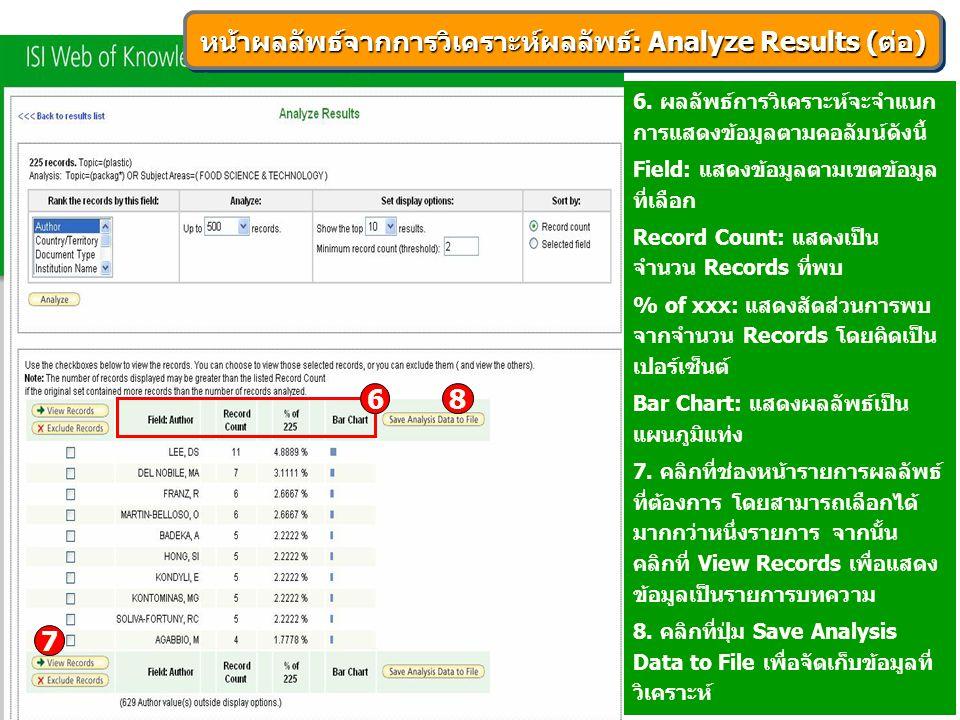 6. ผลลัพธ์การวิเคราะห์จะจำแนก การแสดงข้อมูลตามคอลัมน์ดังนี้ Field: แสดงข้อมูลตามเขตข้อมูล ที่เลือก Record Count: แสดงเป็น จำนวน Records ที่พบ % of xxx